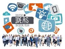 Ideeën het Creatieve Sociale Media Sociale Concept van de Voorzien van een netwerkvisie Royalty-vrije Stock Fotografie