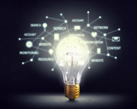 Ideeën voor efficiënt voorzien van een netwerk Gemengde media Stock Foto's