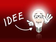 Idee电灯泡浅红色灯的能量 库存图片