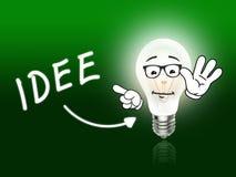 Idee电灯泡浅绿色灯的能量 免版税库存照片