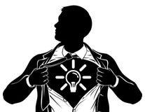 Idee Bedrijfsmens Superhero die Overhemdsborst scheuren stock illustratie