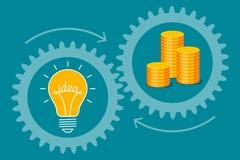 Idee-Birne und Goldmünzen lizenzfreie abbildung