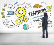 Idee C di Team Together Collaboration Businessman Writing di lavoro di squadra fotografia stock