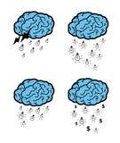 Idee che cadono da una nuvola del cervello Immagine Stock Libera da Diritti