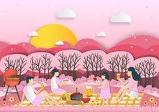 Idee creative della famiglia sul picnic in parco pubblico Recrea all'aperto illustrazione vettoriale