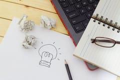 Idee, creativiteit en innovatieconcept Stock Foto's