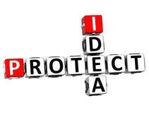 Idee 3D schützen Kreuzworträtsel auf weißem Hintergrund stock abbildung