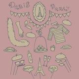 Idee del partito di Parigi, elementi della Francia Fotografie Stock Libere da Diritti