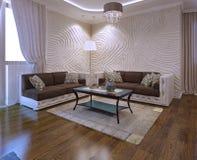 Idee del salone con il sofà di cuoio Fotografie Stock Libere da Diritti