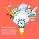 Idee di affari di tempo Vector l'illustrazione di progettazione piana della gestione di tempo e di affari Immagini Stock