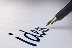Idee di scrittura della penna stilografica Fotografie Stock Libere da Diritti