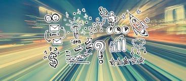 Idee di strategia aziendale con mosso ad alta velocità illustrazione di stock