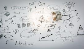 Idee disegnate a mano dell'icona di affari e lampadina Immagini Stock Libere da Diritti