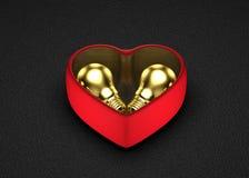 Idee dorate per il presente nel San Valentino Immagini Stock