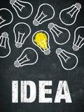 Idee - gloeilampen en tekst Stock Afbeelding