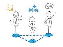 Idee + guter Fortschritt + Team des intelligenten Geschäftsmannes Stock Abbildung