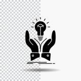 Idee, Ideen, kreativ, Anteil, Handglyph-Ikone auf transparentem Hintergrund Schwarze Ikone stock abbildung