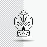 Idee, Ideen, kreativ, Anteil, Handlinie Ikone auf transparentem Hintergrund Schwarze Ikonenvektorillustration vektor abbildung