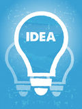 Idee im Birnensymbol mit blauem Schmutzübermäßighintergrund Lizenzfreie Stockfotografie