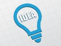 Idee im Glühlampezeichen, flaches Design Lizenzfreie Stockfotos