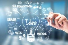 Idee, innovatie en leidingsconcept stock afbeeldingen
