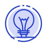 Idee, Innovation, Erfindung, Glühlampe Linie Ikone blauer punktierter Linie lizenzfreie abbildung