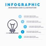 Idee, Innovation, Erfindung, Glühlampe Linie Ikone mit Hintergrund infographics Darstellung mit 5 Schritten lizenzfreie abbildung