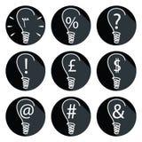 Idee - lampadine messe delle icone Fotografia Stock