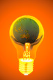 Idee, mano, lampadina, mondo Immagini Stock