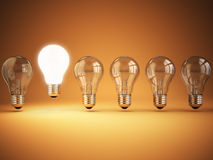 Idee oder Einzigartigkeit, Originalitätskonzept Reihe von Glühlampen mit vektor abbildung