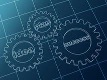 Idee, Plan, Erfolg in den blauen Zahnrädern Stockfoto