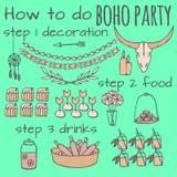 Idee tribali del partito nello stile di boho Immagine Stock