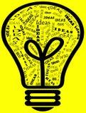Idee in una lampadina Fotografia Stock