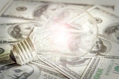 Idee und Innovation für Geld. Stockfoto