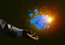 Idee van nieuwe die technologieën en integratie door kubuscijfer worden voorgesteld Stock Foto