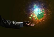 Idee van nieuwe die technologieën en integratie door kubuscijfer worden voorgesteld Royalty-vrije Stock Afbeeldingen