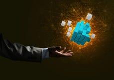 Idee van nieuwe die technologieën en integratie door kubuscijfer worden voorgesteld Stock Afbeeldingen