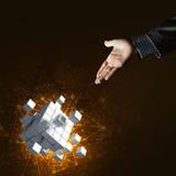 Idee van nieuwe die technologieën en integratie door kubuscijfer worden voorgesteld Stock Afbeelding