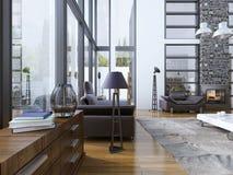 Idee van woonkamer met panoramische vensters Stock Afbeeldingen