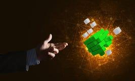 Idee von neuen Technologien und Integration stellten sich durch Würfelzahl dar Stockbild