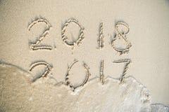 Idee voor het eind van 2017 van jaar en het gelukkige nieuwe jaar van 2018 Royalty-vrije Stock Afbeelding