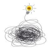 Ideeconcept door een gloeilamp wordt gesymboliseerd die die omhoog aansteekt stock illustratie