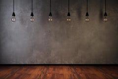 Ideeconcept met gloeilampen op een grijze achtergrond Stock Illustratie