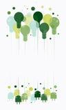 Ideeconcept met het hangen van groene gloeilampen Stock Afbeeldingen