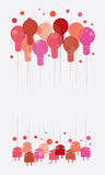 Ideeconcept met het hangen van rood lichtbollen Stock Foto