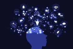 Ideemening die creatieve inspiratie, hersenen het denken netwerk t in kaart brengen vector illustratie