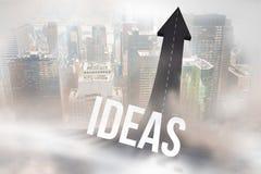 Ideen gegen die Straße, die zu Pfeil macht Lizenzfreie Stockfotos