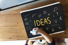 Ideen-Glühlampe Musicnote-Sprache-Ikonen-Konzept Lizenzfreies Stockfoto