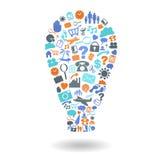 Ideen-Glühlampen-Form-Ikonen-Satz Lizenzfreie Stockfotos