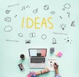 Ideen-Glühlampen-Musikanmerkung Sprache-Ikonen-Konzept Lizenzfreie Stockfotografie